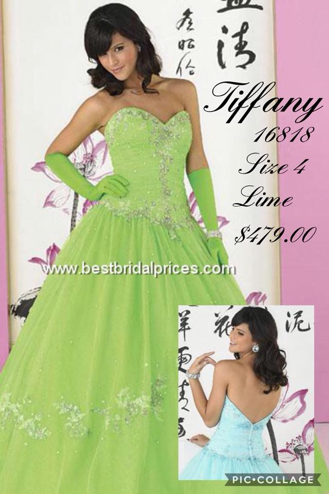 Queenly size 4 Tiffany Designs Green Ball gown evening gown/formal dress