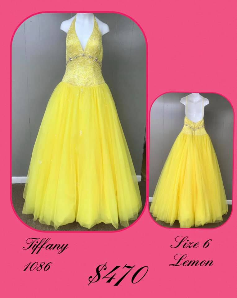 Queenly size 6 Tiffany Designs Yellow Ball gown evening gown/formal dress