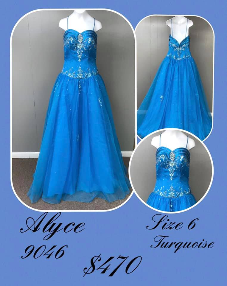 Alyce Paris Blue Size 6 Tulle Backless Tall Height Ball gown on Queenly