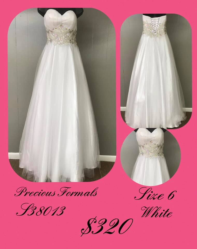 Precious Formals White Size 6 Jewelled Sweetheart Corset Tall Height Ball gown on Queenly