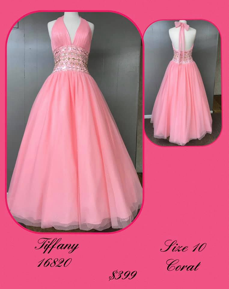 Tiffany Designs Pink Size 10 Backless Tall Height Ball gown on Queenly