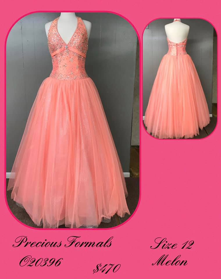 Queenly size 12 Precious Formals Orange Ball gown evening gown/formal dress