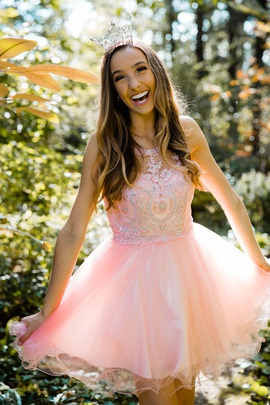 Queenly size 4  Pink Cocktail evening gown/formal dress