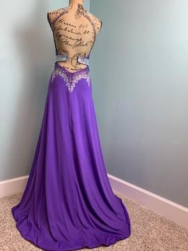 Rachel Allan Purple Size 0 Pageant Backless Side slit Dress on Queenly