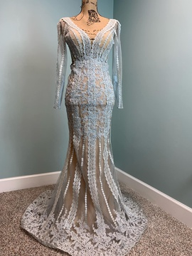 Mac Duggal Blue Size 0 Sheer Lace Mermaid Dress on Queenly