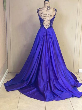 Sherri Hill Purple Size 6 Backless Train Ball gown on Queenly