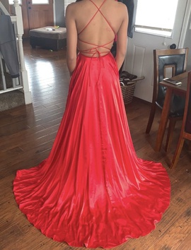 Sherri Hill Red Size 0 Backless Corset Side slit Dress on Queenly