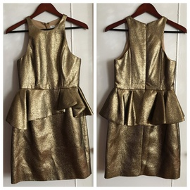 Halston Heritage Gold Size 4 Halter Interview Shiny Cocktail Dress on Queenly