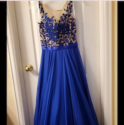 Sherri Hill Blue Size 2 Cap Sleeve A-line Dress on Queenly