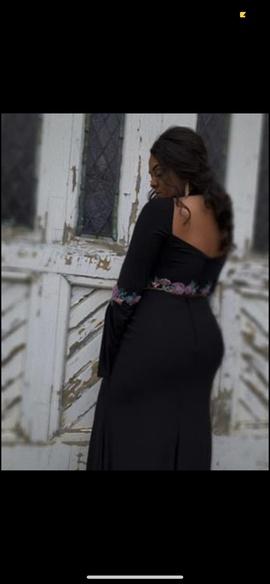 Rachel Allan Black Size 12 Jersey Bell Sleeves Plus Size Mermaid Dress on Queenly