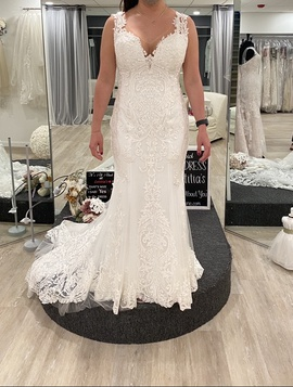 Casablanca White Size 6 Flare Lace Train Dress on Queenly