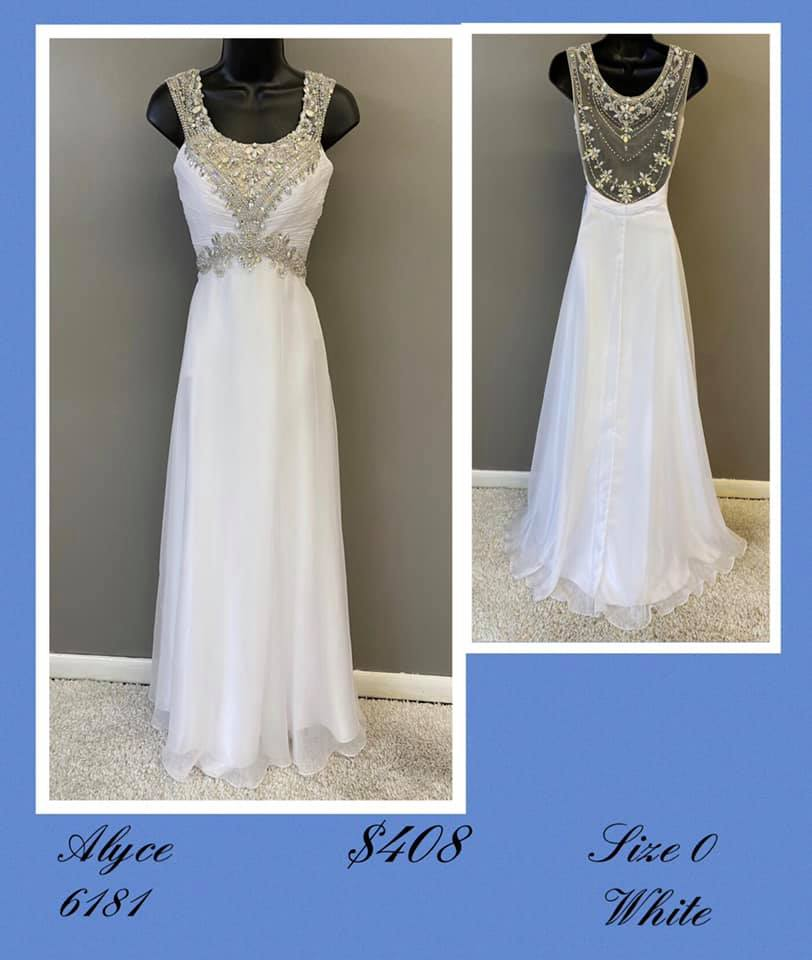 Queenly size 0 Alyce Paris White A-line evening gown/formal dress