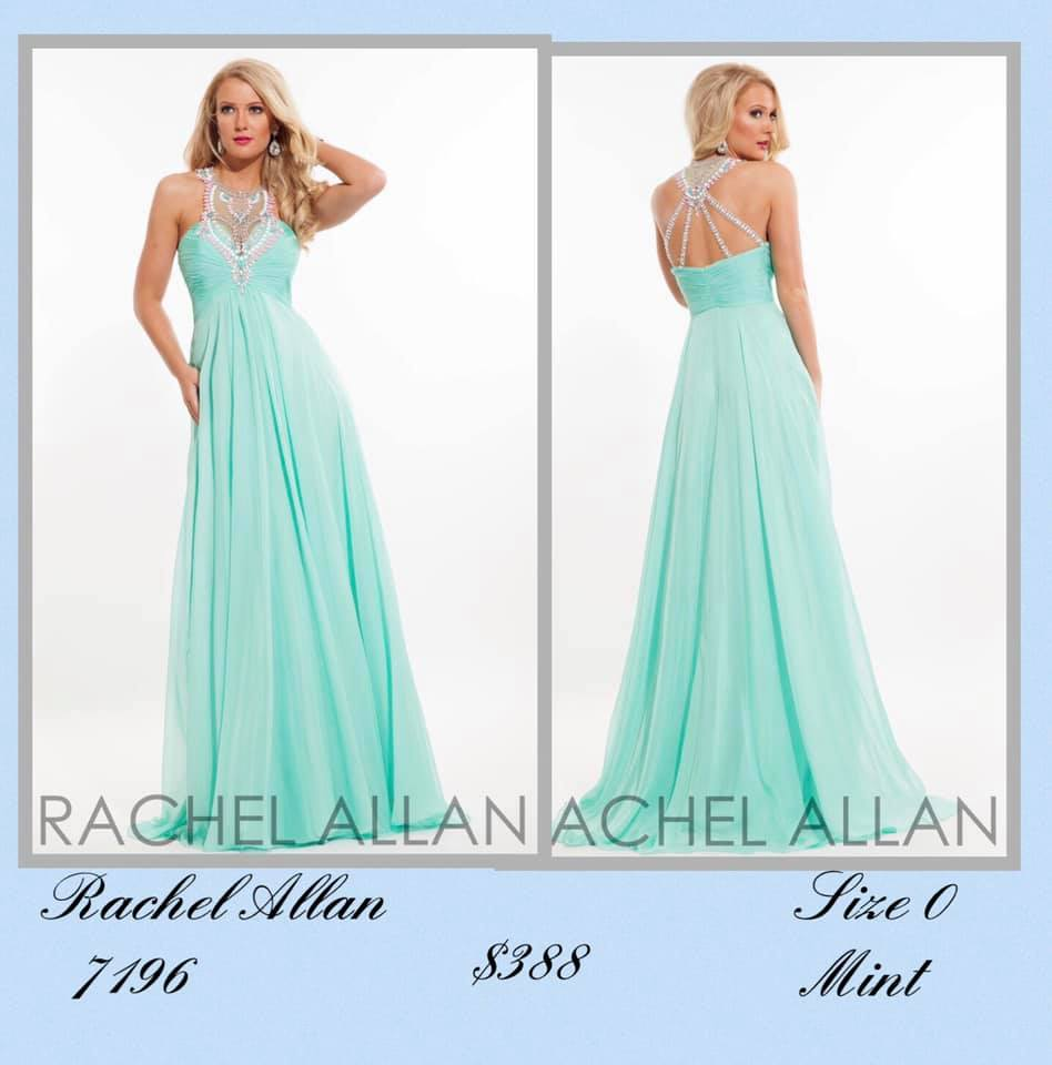 Queenly size 0 Rachel Allan Green A-line evening gown/formal dress