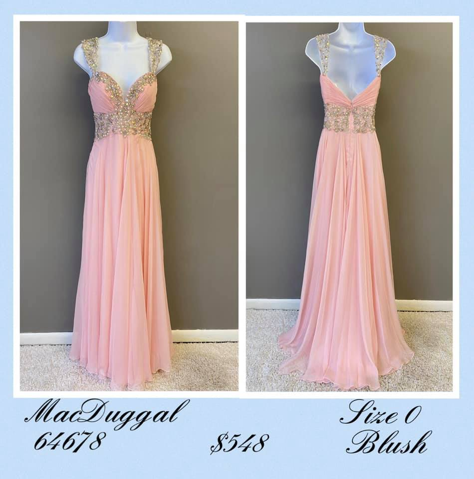 Queenly size 0 Mac Duggal Pink A-line evening gown/formal dress