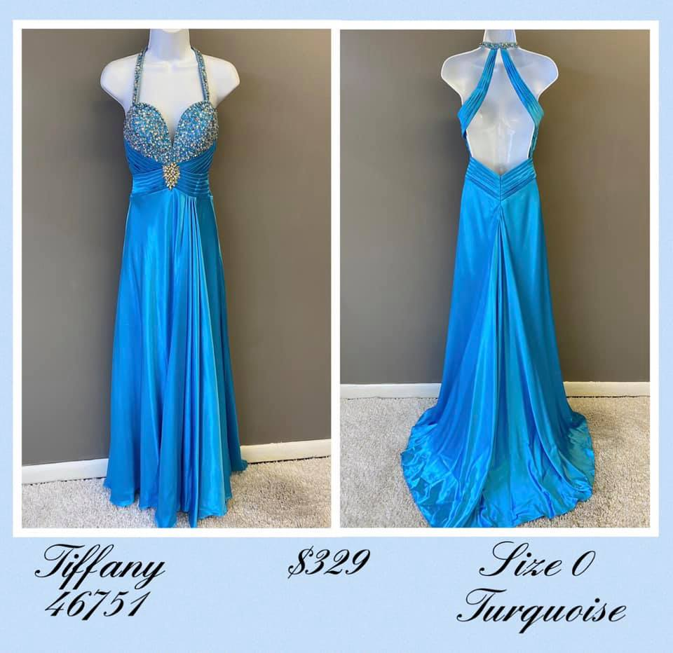 Queenly size 0 Tiffany Blue A-line evening gown/formal dress