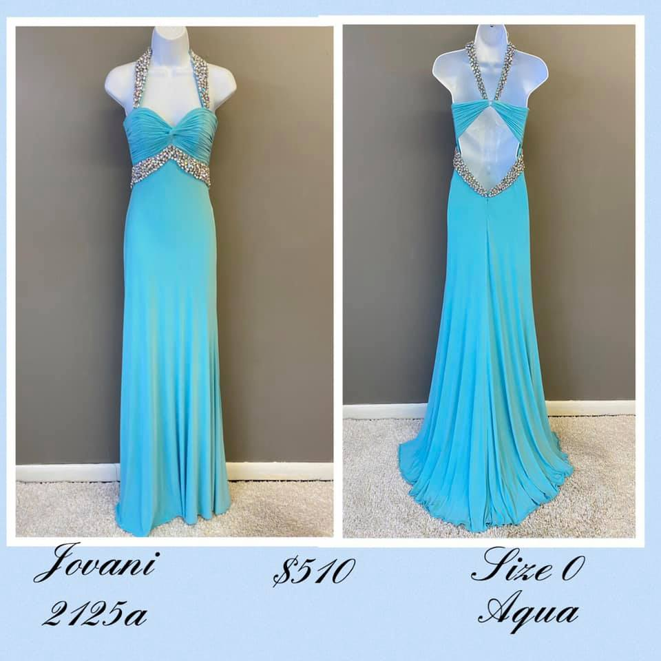 Queenly size 0 Jovani Blue A-line evening gown/formal dress