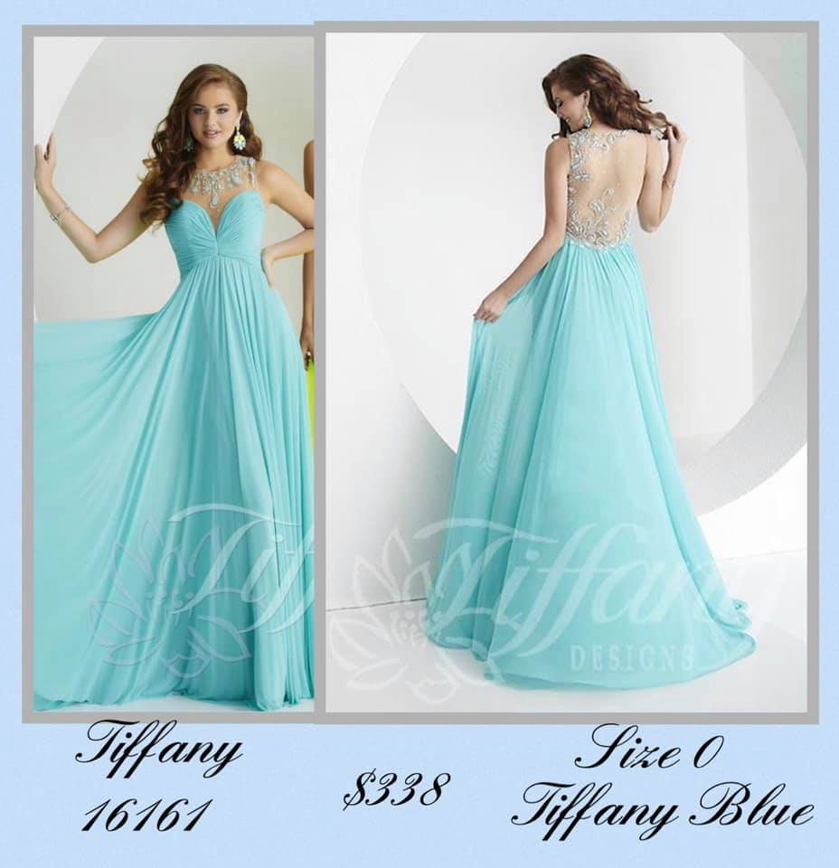 Queenly size 0 Tiffany Designs Blue A-line evening gown/formal dress