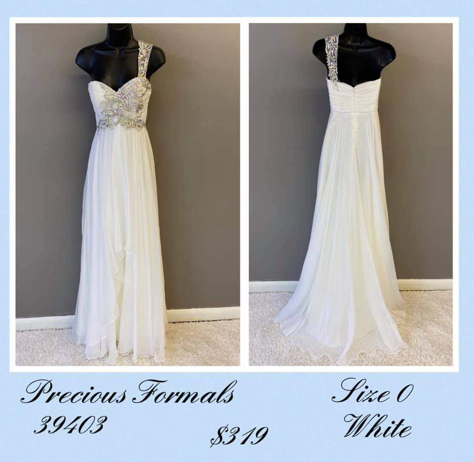 Queenly size 0 Precious Formals White A-line evening gown/formal dress