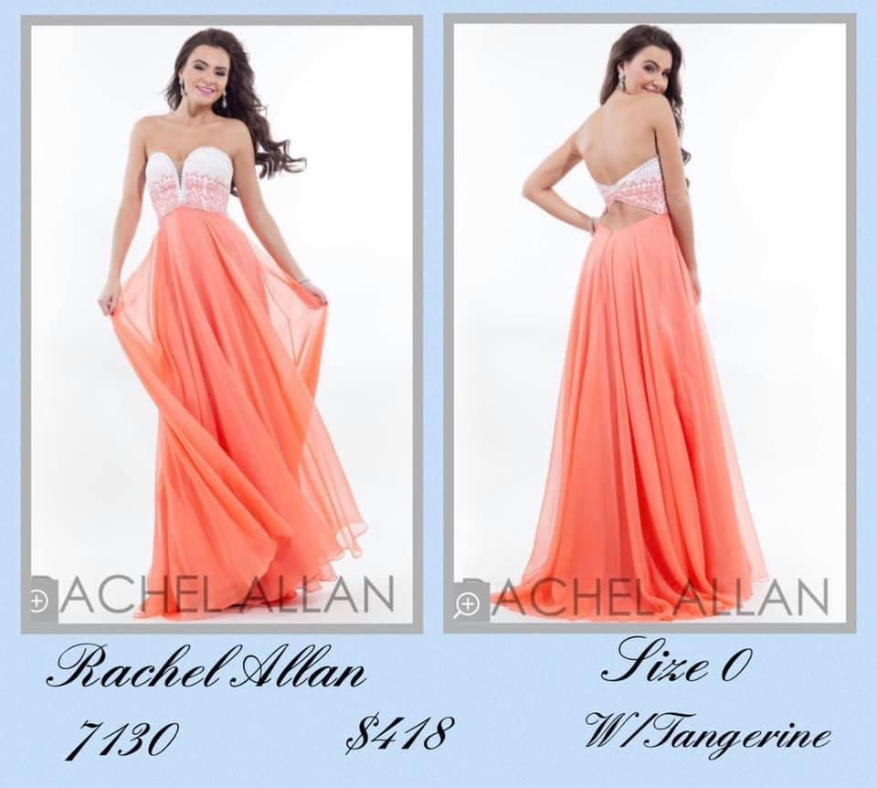 Queenly size 0 Rachel Allan Orange A-line evening gown/formal dress