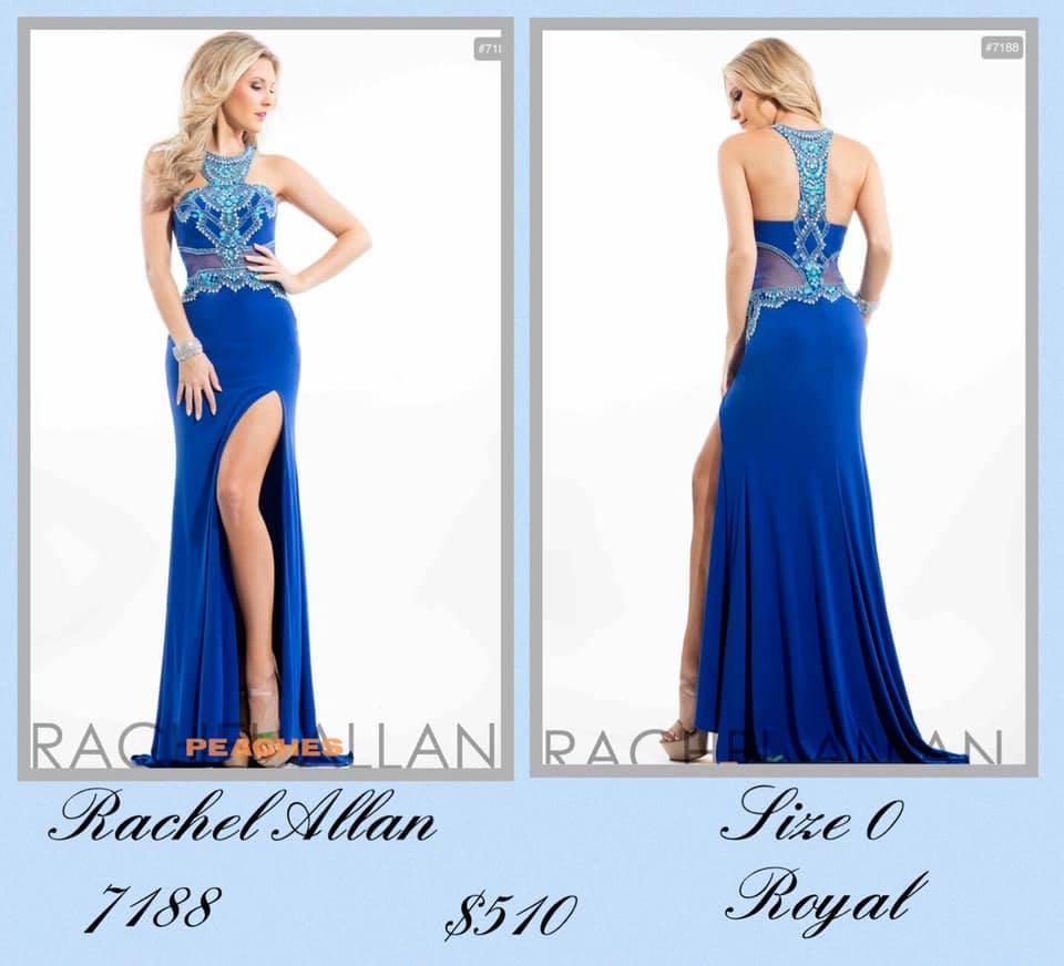 Rachel Allan Blue Size 0 Halter Sheer Tall Height A-line Dress on Queenly