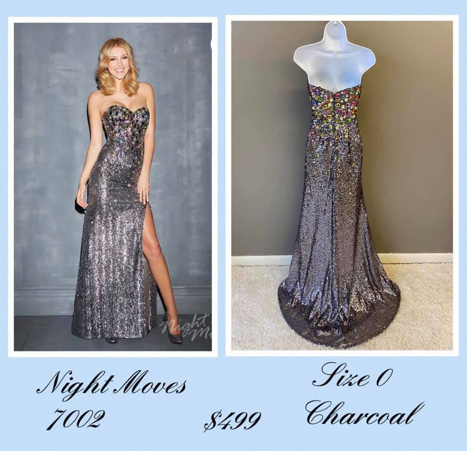 Queenly size 0 Night Moves Silver A-line evening gown/formal dress