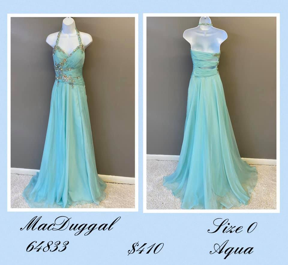 Queenly size 0 Mac Duggal Blue A-line evening gown/formal dress