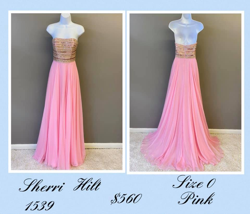 Queenly size 0 Sherri Hill Pink A-line evening gown/formal dress