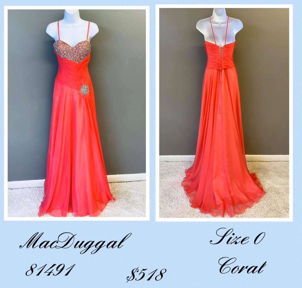 Queenly size 0 Mac Duggal Orange A-line evening gown/formal dress