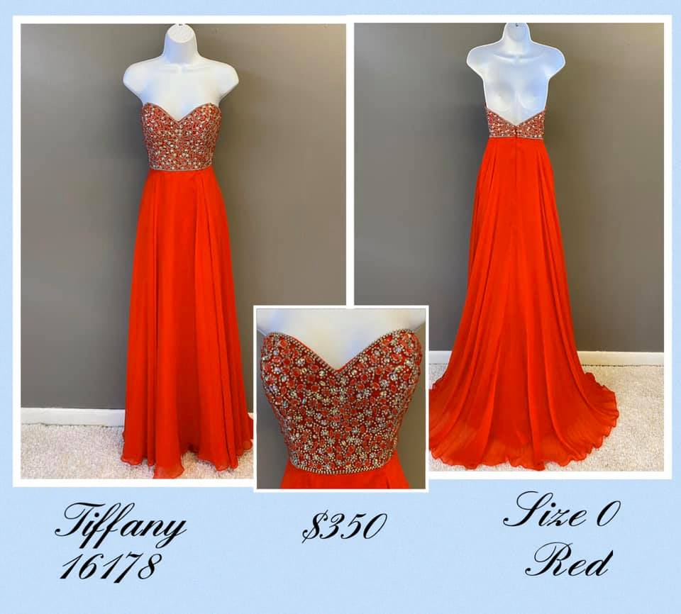Tiffany Designs Red Size 0 Backless Tall Height A-line Dress on Queenly