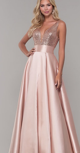 Queenly size 4 Dave & Johnny Pink A-line evening gown/formal dress