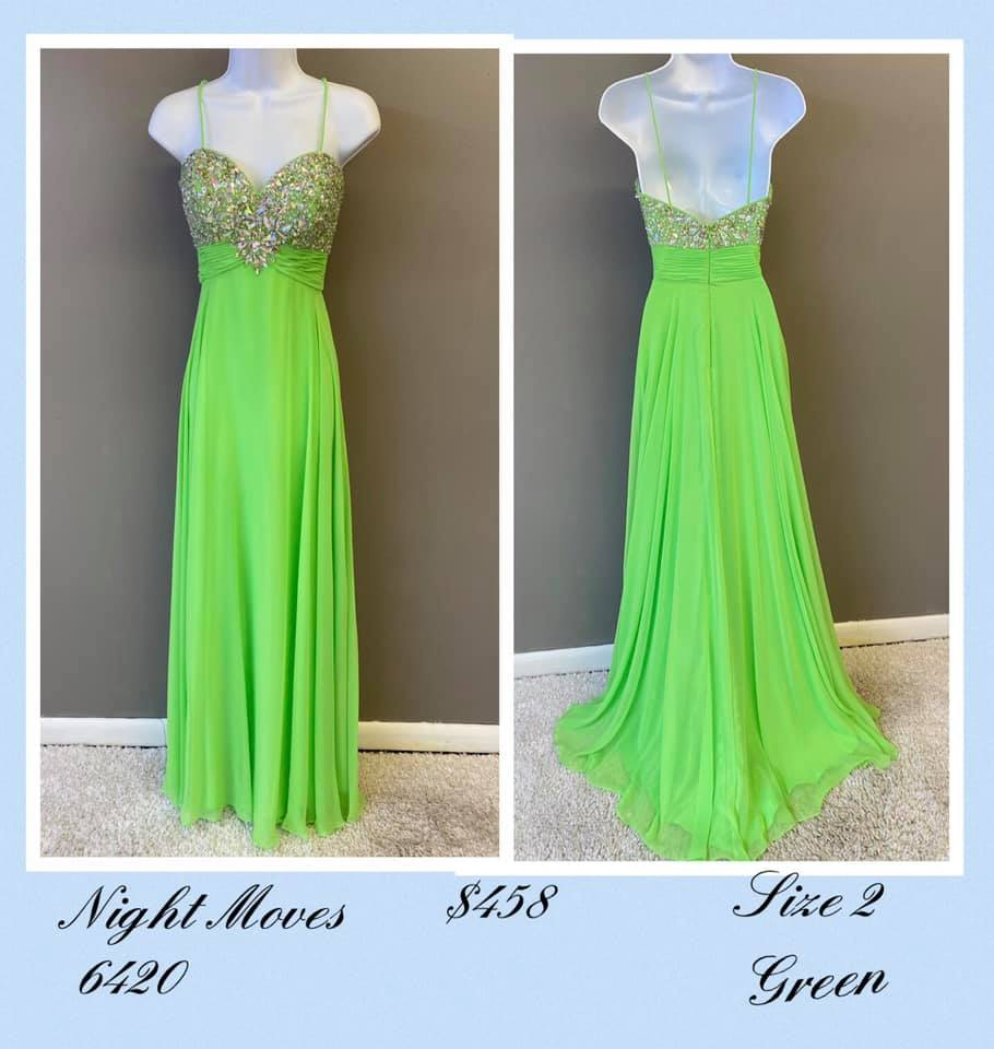Queenly size 2 Night Moves Green A-line evening gown/formal dress