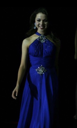 Tony Bowls Blue Size 0 Halter Train Dress on Queenly