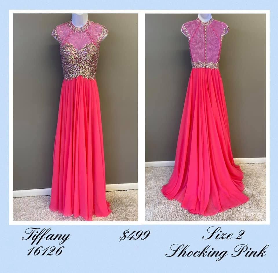 Queenly size 2 Tiffany Designs Pink A-line evening gown/formal dress