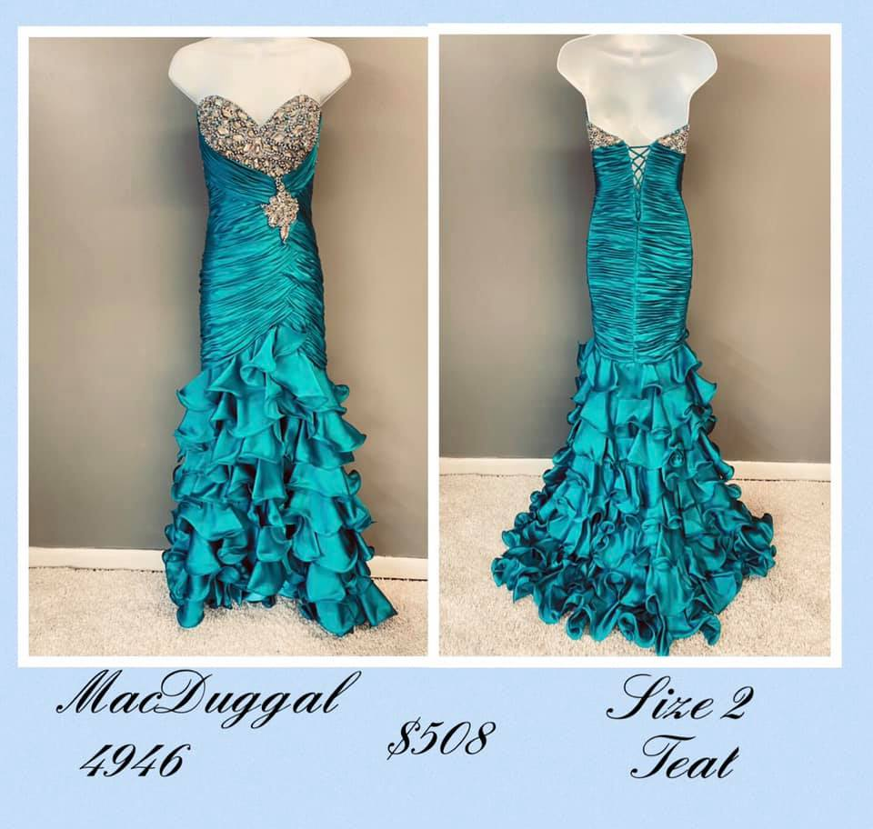 Queenly size 2 Mac Duggal Green A-line evening gown/formal dress