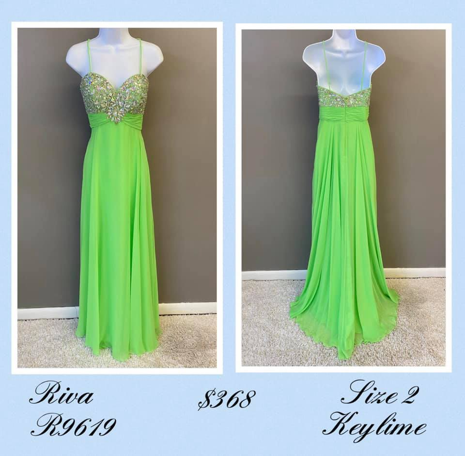 Queenly size 2 Riva Green A-line evening gown/formal dress