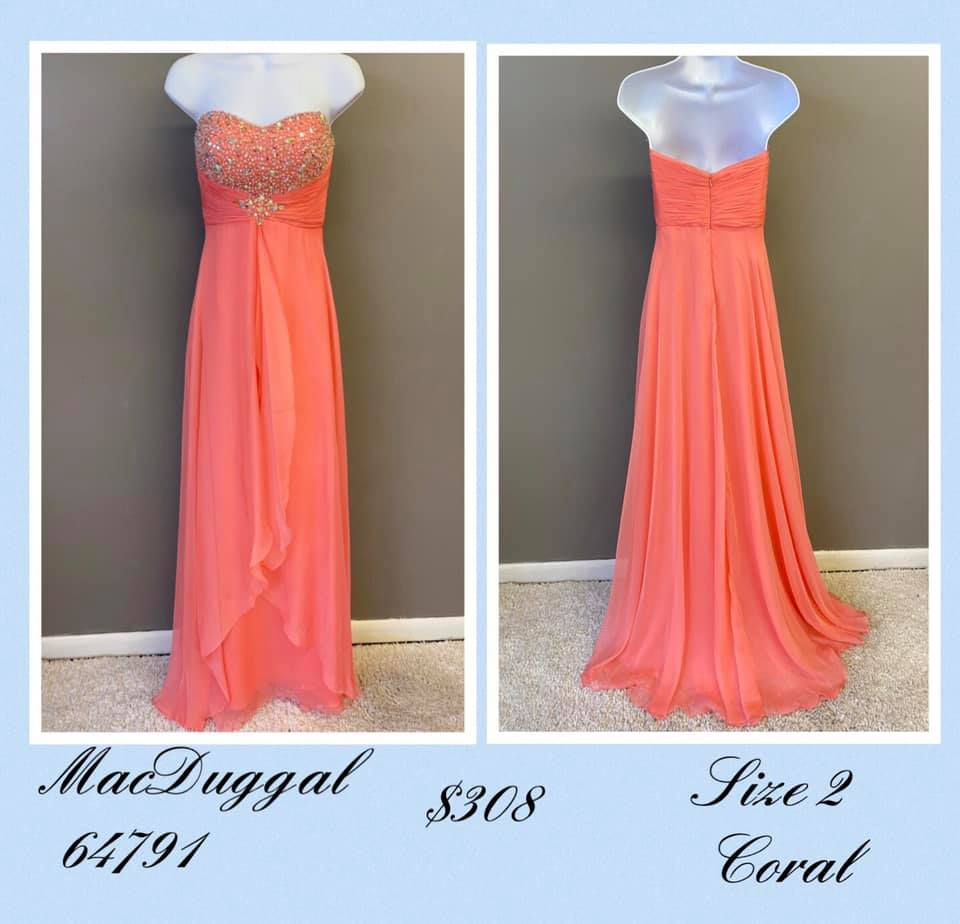 Queenly size 2 Mac Duggal Orange A-line evening gown/formal dress