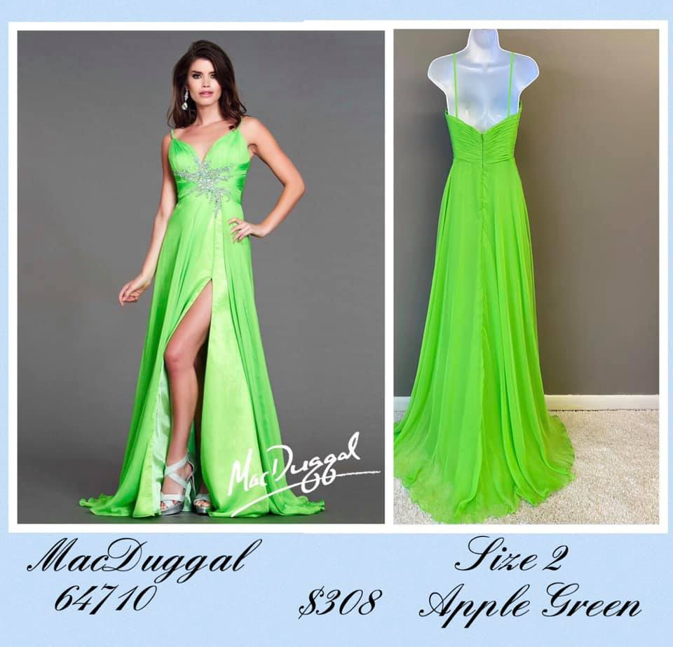Queenly size 2 Mac Duggal Green Side slit evening gown/formal dress
