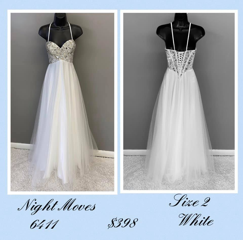 Queenly size 2 Night Moves White A-line evening gown/formal dress