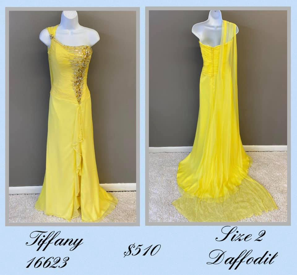Queenly size 2 Tiffany Designs Yellow Side slit evening gown/formal dress