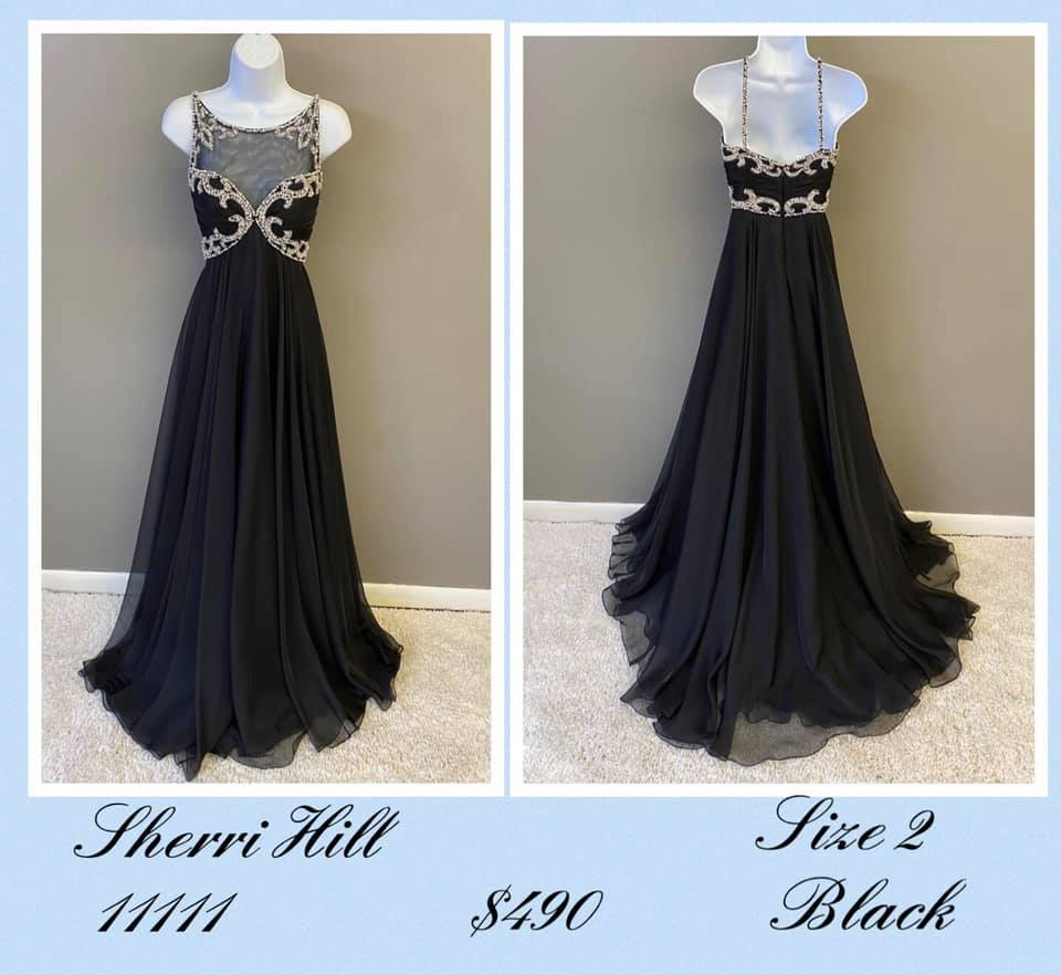 Queenly size 2 Sherri Hill Black A-line evening gown/formal dress