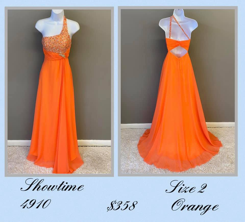Queenly size 2 Showtime Orange A-line evening gown/formal dress