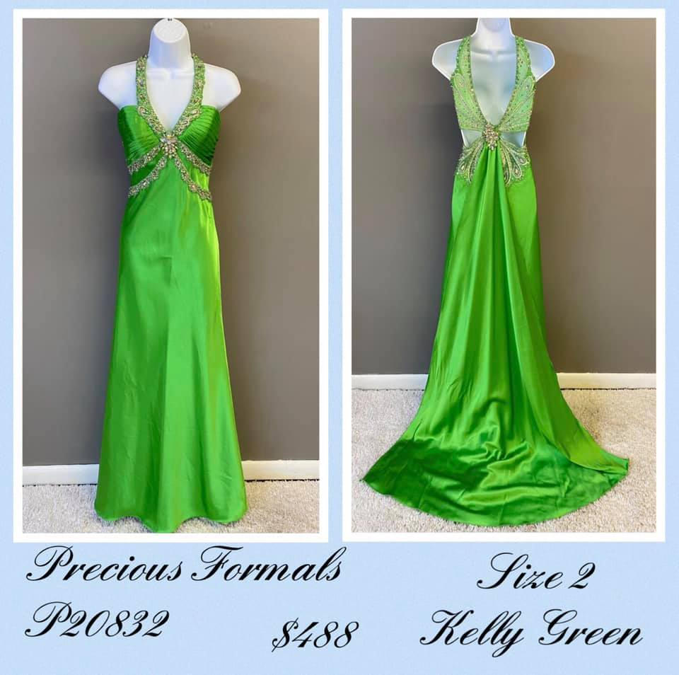 Queenly size 2 Precious Formals Green A-line evening gown/formal dress