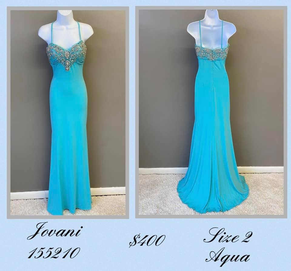 Jovani Blue Size 2 Tall Height A-line Dress on Queenly
