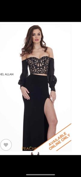 Rachel Allan Black Size 4 Sleeves Lace Side slit Dress on Queenly