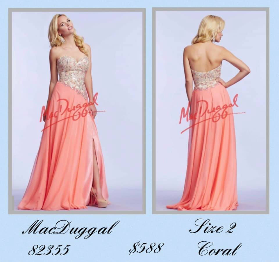 Queenly size 2 Mac Duggal Orange Side slit evening gown/formal dress