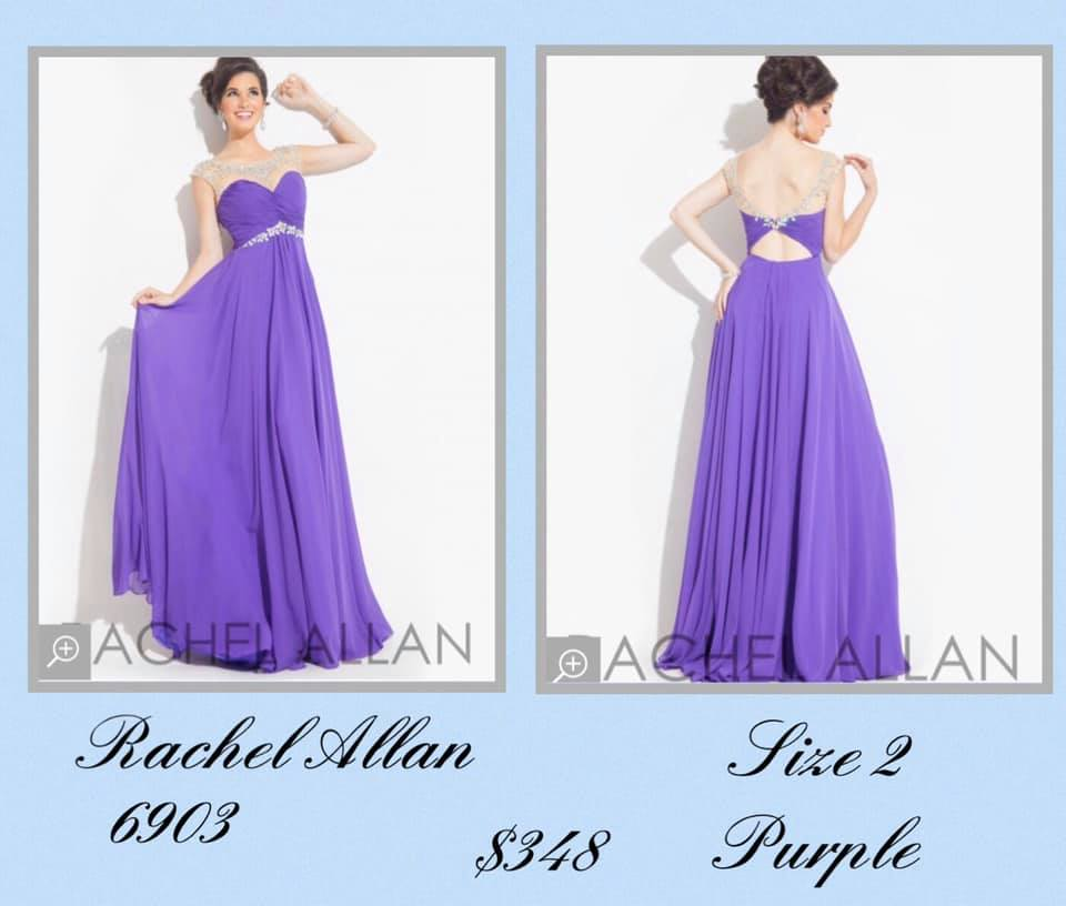 Queenly size 2 Rachel Allan Purple A-line evening gown/formal dress