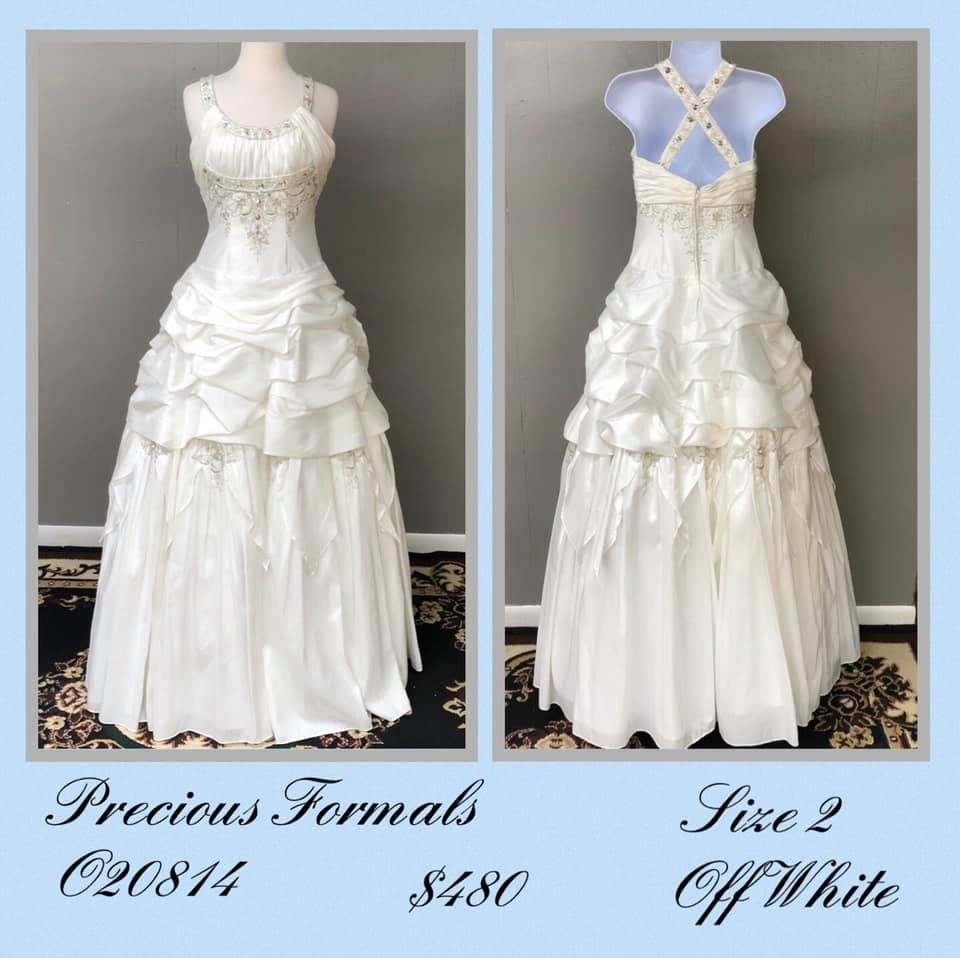 Queenly size 2 Precious Formals White Ball gown evening gown/formal dress