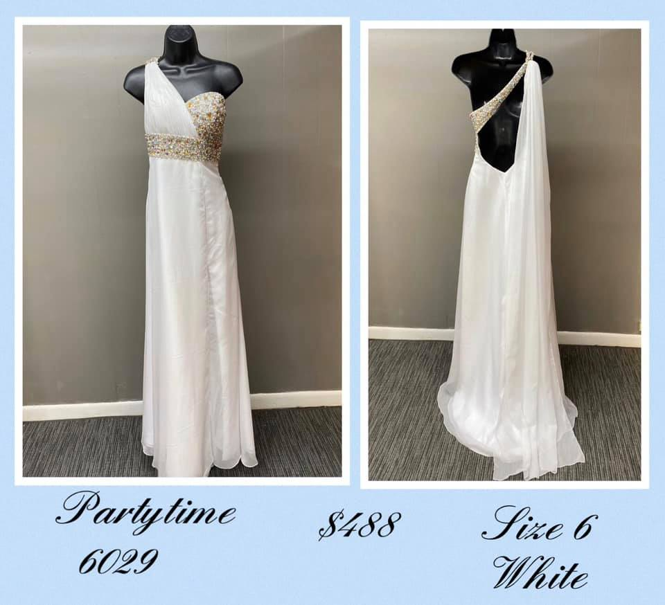 Queenly size 6 Party Time Formals White A-line evening gown/formal dress
