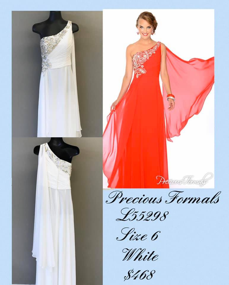 Queenly size 6 Precious Formals White A-line evening gown/formal dress