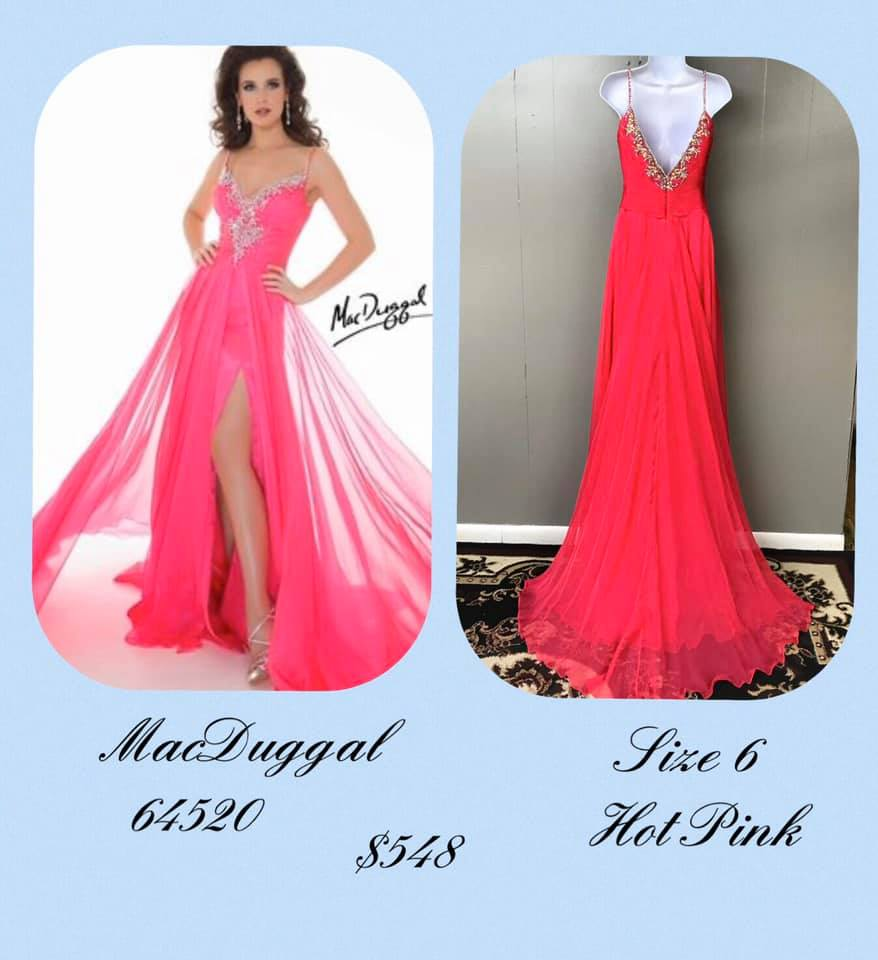 Queenly size 6 Mac Duggal Pink Side slit evening gown/formal dress